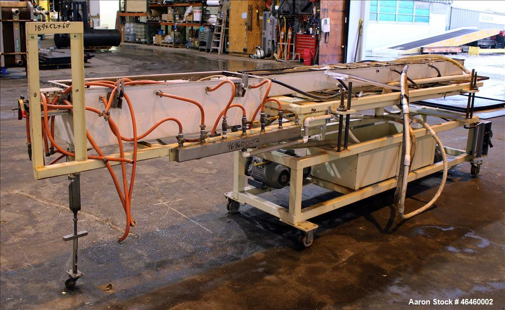 "Used- Vacuum Calibration Tank. 2 Section trough, 120"" long x 6"" wide x 6"" deep, to 48"" long x 13-3/4"" wide x 12"" deep. Inclu..."