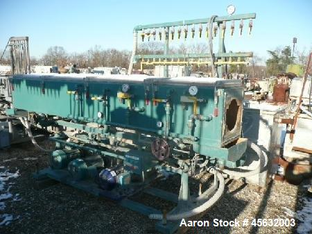 Used- Metaplast Vacuum Sizing Tank, Model MVS. Approximately 14' long. Includes (3) pumps.