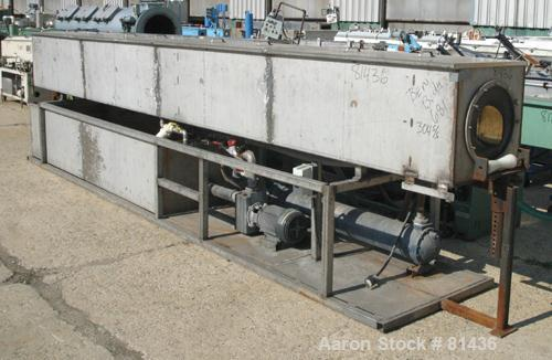 "USED: Custom Fabricated wash tank, 304 stainless steel. Tank 24"" widex 24"" deep x 20' long. 4 piece top cover. Includes hold..."
