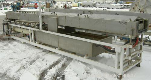 "Used: Extrusion Services Inc (ESI) Spray Cooling Tank, 304 stainless steel. 26"" wide x 11"" deep x 20'4"" long. (3) sections o..."