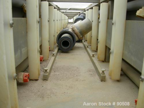 "Used: Extrusion Services Inc.(ESI) spray cooling tank,304 stainless steel. 16"" wide x 11"" deep x 20' long.(4) section top co..."