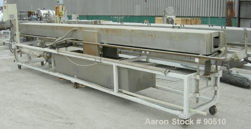 """Used: Extrusion Services Inc (ESI) spray cooling tank, 304 stainless steel. 16"""" wide x 11"""" deep x 20' long. (4) section top ..."""