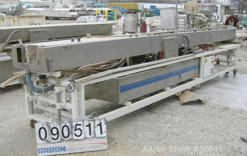 """Used: Extrusion Services Inc.(ESI) spray cooling tank, 304 stainless steel. 26"""" wide x 11"""" deep x 20'4"""" long.(3) sections of..."""