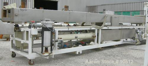 """Used: Extrusion Services Inc (ESI) spray cooling tank, 304 stainless steel. 26"""" wide x 11"""" deep x 21'6"""" long. (5) section to..."""
