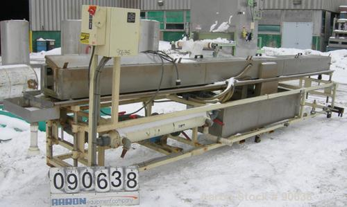 """Used: Extrusion Services Inc.(ESI) spray cooling tank,304 stainless steel. 16"""" wide x 11"""" deep x 20' long.(4) section top co..."""