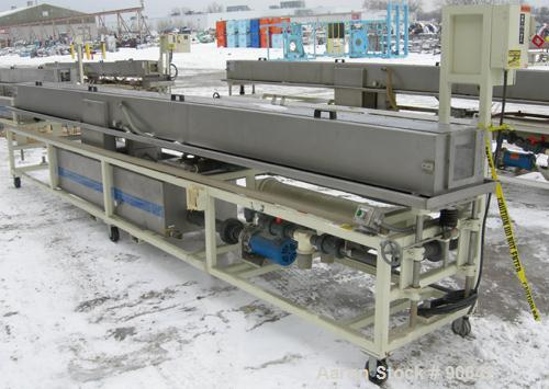 """Used: Extrusion Services Inc.(ESI) spray cooling tank, 304 stainless steel. 16"""" wide x 11"""" deep x 20' long.(4) section top c..."""