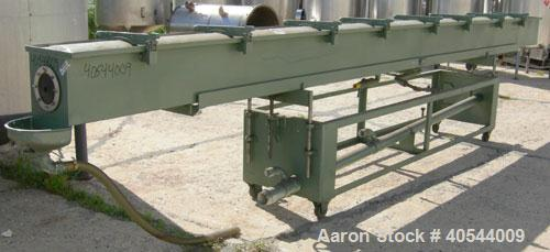 "Used- Gatto spray cooling tank, model WST105B21-2, 304 stainless steel. (4) compartment, 12"" wide x 252"" long x 12"" deep. (4..."