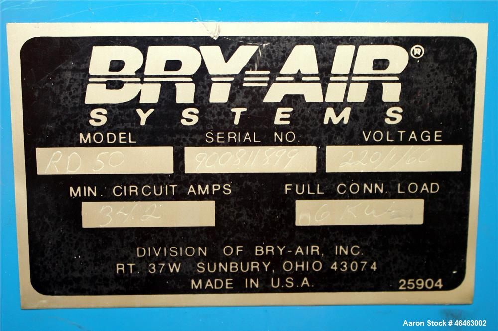 """Used- Bry-Air Systems RD Series Resin Desiccant Dryer, Model RD-50. Process CFM 30 at 10"""" ESP, drying capacity 35 to 60 poun..."""