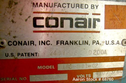 USED: Conair dehumidifying dryer, model 180-011-02. 3/60/480 volt. 48,000 hours used.