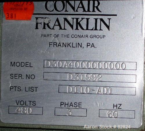 USED: Conair Compu Dry dehumidifying dryer, model CD30. Approx 30 cfm.1 desiccant cartridge, 3/60/480 volt, 425 deg F max te...