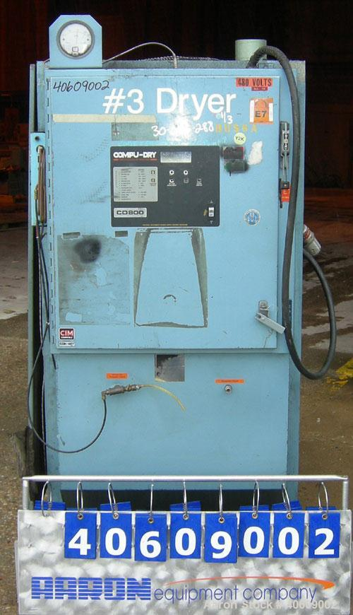 Used- Conair dehumidifying dryer, model CD800, 600 cfm. 5 desiccant cartridges. 3/60/480 volt. Includes Compudry control pan...