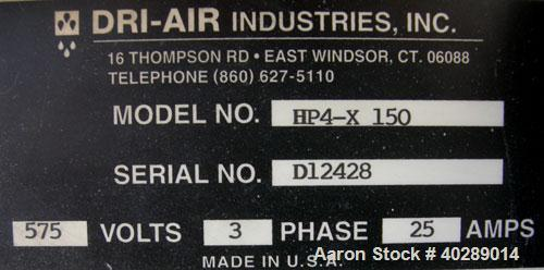 Used- Dri Air desiccant dryer, model HP4-X 150. Rated 150 cfm. 3/575/25 amp. Includes a Dri-Air 400 pound 304 stainless stee...