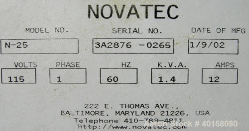 Used- Novatec NovaDrier non-desiccant resin dryer, model N-25. Throughput capacity 25 pounds an hour, 5.7 scfm. Constant -40...