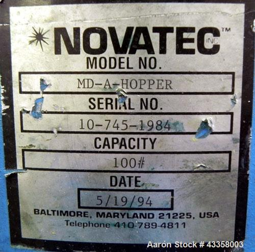 Used- Novatec Micro Resin Dryer, Model MD-15. Throughput capacity 15 pounds an hour, 15 cfm. Constant -40 deg. Standard proc...