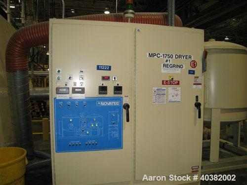 Used-Novatech model MPC-1750 desiccant dryer. Desiccant drying system package includes dryer, 15000 lb insulated hopper with...