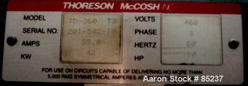 Used- Thoreson-McCosh Closed Loop Triple Dessicant Bed Dryer, Model TD-360