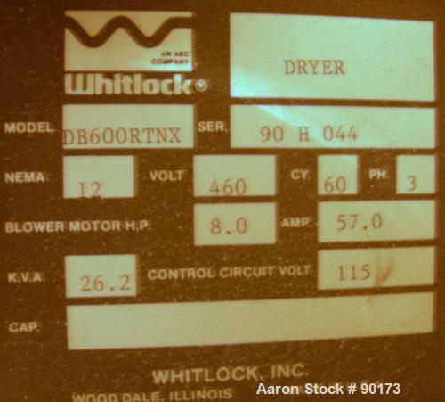 Used- Whitlock Desiccant Dryer, Model DB-600RTNX