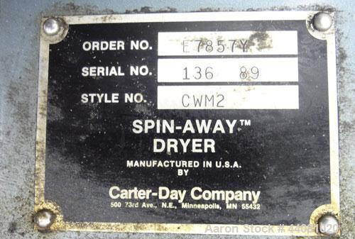 Used- Carter Day Spin-Away Spin Dryer, Model CWM2, 304 Stainless Steel. Driven by a 5hp, 3/60/208230/460 volt, 1160 rpm moto...