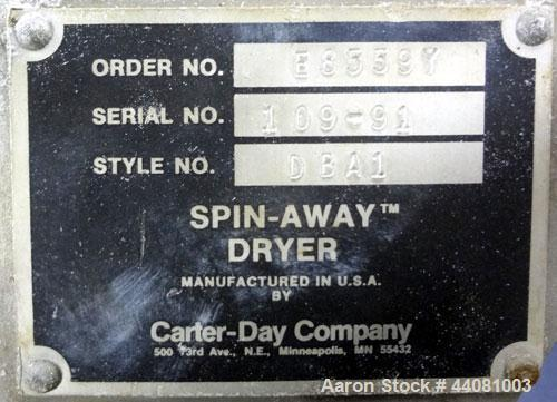Used- Carter Day Spin-Away Spin Dryer, Model DBA1, 304 Stainless Steel. Driven by a 5hp, 3/60/230/460 volt, 1730 rpm motor. ...