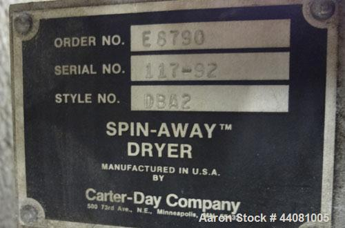 Used- Carter Day Spin-Away Spin Dryer, Model DBA2, 304 Stainless Steel. Driven by a 5hp, 3/60/230/460 volt, 1715 rpm motor. ...