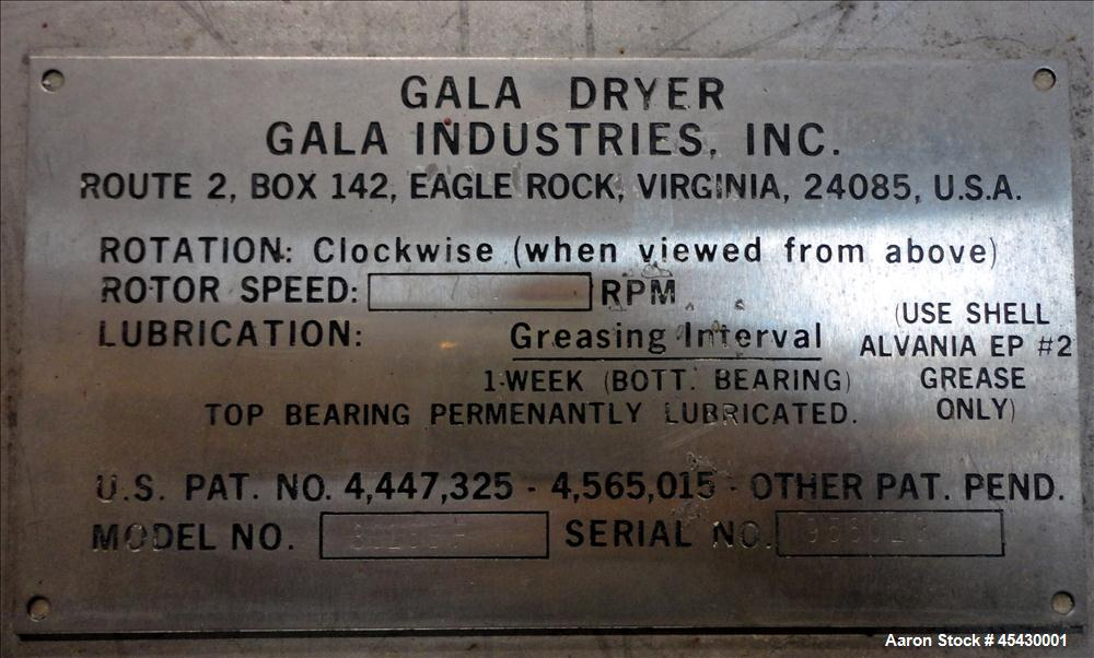 Used- Stainless Steel Gala Industries Spin Dryer, Model 3016 BF