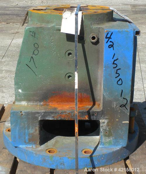 """Used- 6"""" Extruder Thrust Housing, Carbon Steel. Approximately 28"""" long section, 7 1/4"""" flanged opening. 10"""" x 8 1/2"""" top fee..."""