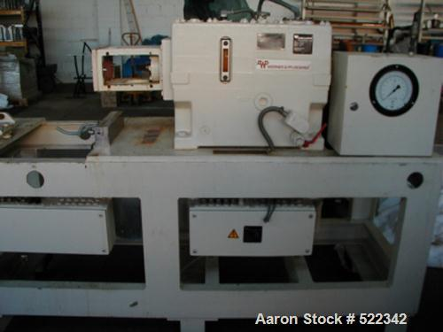 USED: Werner Pfleiderer lab size twin screw extruder gearbox, type ZSK40-F32,5E. Includes 5 housing section barrel section. ...