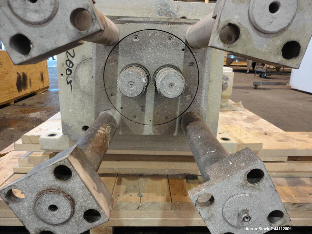 Used- American Maplan 130mm Twin Screw Extruder Parts Consisting Of: (1) Thyssen TPM 3-130-D05-V70 Gear Box, serial# 6 343 3...