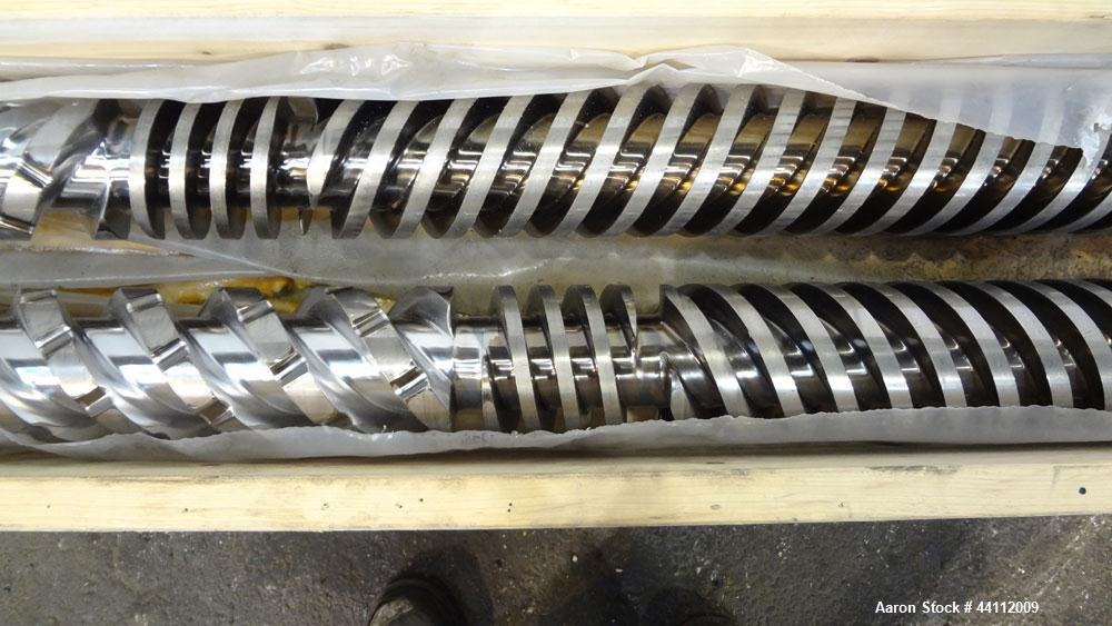 Used- American Maplan 130mm Twin Screw Set. Approximate 24 to 1 L/D ratio. Built 2008, serial#WT-2931H