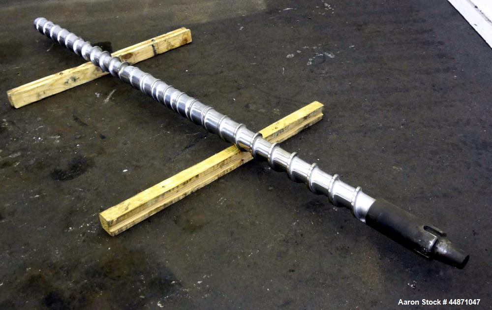 "Used- Davis Standard 3-1/2"" Diameter Extruder Screw.  Approximately 24 to 1 L/D ratio, 103"" overall length, nickel plated."