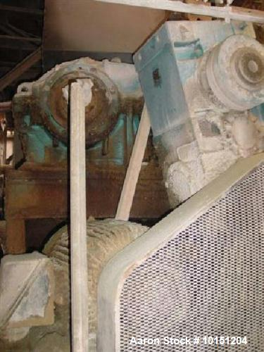 """Used- Moriyama Model 2TE500-120 Tapered Screw Twin Screw Extruder. Previously used for asphalt/rubber product. Has 25"""" x 40""""..."""