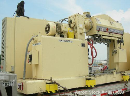 """Used-PTI 2.5"""" Trident Series Single Screw Extruder, model 2500. Approximate 32 to 1 L/D ratio. 5 zone electrically heated, a..."""