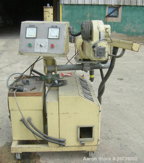 "Used-Actual .8"" pedestal mounted single screw co-extruder, model AE22. Approximately 24 to 1 L/D ratio. Electrically heated,..."