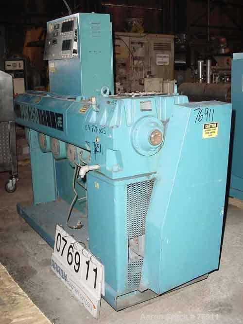 """Used- Akron 2-1/2"""" Single Screw Extruder, Model PAK2500. 24:1 L/D ratio. Electrically heated, air cooled barrel, water coole..."""