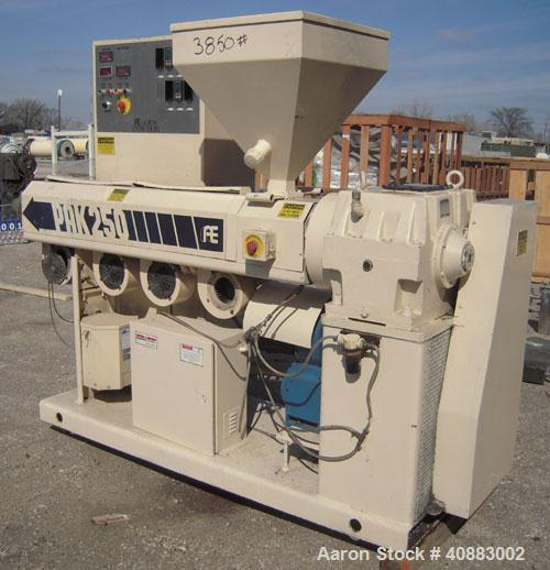 """Used- Akron2 1/2"""" Single Screw Extruder, Model PAK250, approximately 24 to 1 L/D ratio. Electrically heated, air cooled4 z..."""