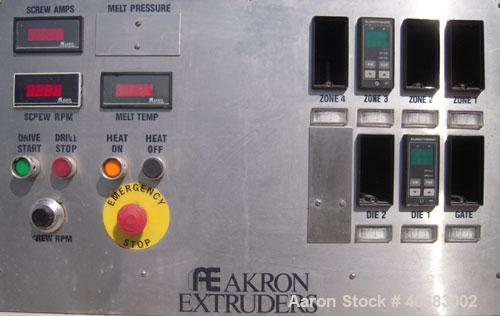 "Used- Akron 2 1/2"" Single Screw Extruder, Model PAK250, approximately 24 to 1 L/D ratio. Electrically heated, air cooled 4 z..."