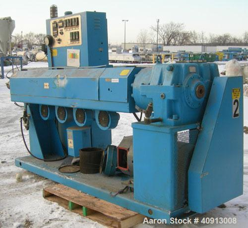 """Used- Akron 3 1/2"""" Single Screw Extruder, model PAK350. Approximate 24:1 L/D ratio.  Electrically heated, air cooled 5 zone ..."""