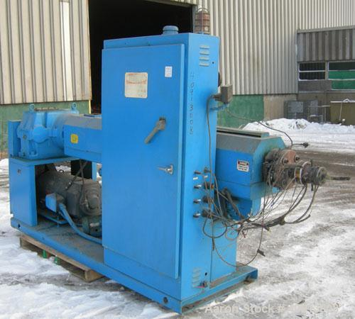 "Used- Akron 3 1/2"" Single Screw Extruder, model PAK350. Approximate 24:1 L/D ratio.  Electrically heated, air cooled 5 zone ..."