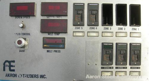 """Used- Akron 3 1/2"""" Single Screw Extruder, model PAK350. Approximate 24:1 L/D ratio. Electrically heated, air cooled 5 zone a..."""