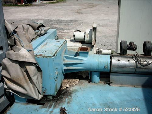 "USED: Barmag model 9E4 extruder, 3.54"" (90mm), type 9E4/27D. Maxscrew speed 125 rpm, driven by a 125 hp motor; heating and c..."