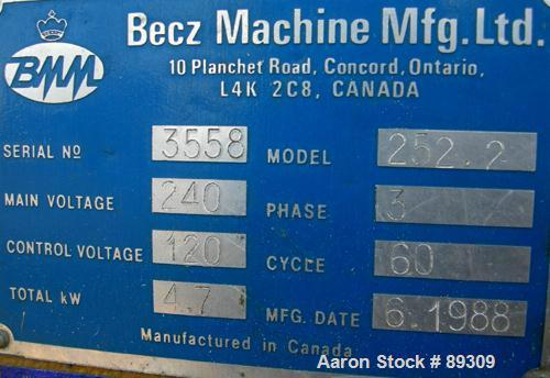 """Used- Becz Machine 1.25"""" Pedestal Mounted Single Screw Extruder, Model 252. Approximate 12:1 L/D ratio. Electrically heated,..."""