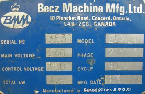 "Used- Becz Machine 1.25"" Pedestal Mounted Single Screw Extruder, Model 252.25. Approximate 12:1 L/D ratio. Electrically heat..."