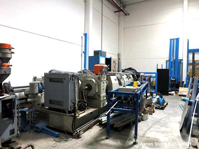 Used- Berstoff 120 mm Single Screw Extruder, Model Schaumex 120.  120 mm Diameter, 25:1 L/D.  Electrically heated, water coo...