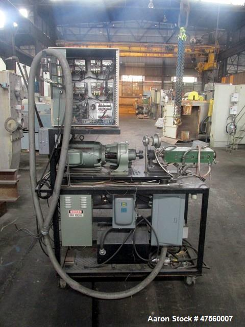 """Used- Brabender Laboratory Extruder, Type SP-TP250. Electrically heated, water cooled barrel. .75"""" dia serial 1370Driven by ..."""