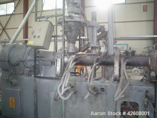 Used-Buss Kneader, 100 mm, 75 hp, 15:1 L/D. Includes inverter, single extruder, pelletizer and 4 oil circulator. Manufacture...
