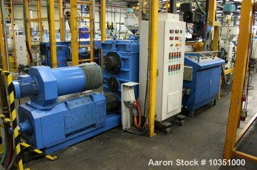 "Used-Cincinnati Milacron CMS 120-28 GR Single Screw Extruder. Screw diameter 4.7"" (120 mm), 28 L/D, 661 lbs/hour (300 kg/h) ..."