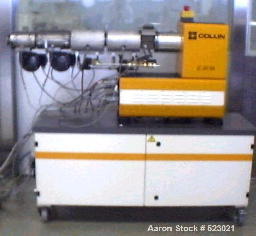 "USED: Single screw Collin lab extruder, type 30x25D. Screw diameter 1.18"" (30mm); electrically heated 1200W, air cooled, zon..."