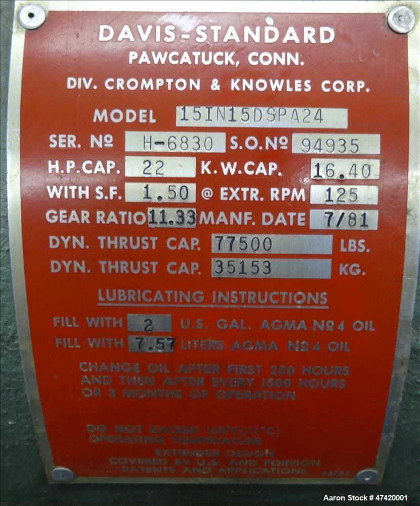 "Used- Davis Standard 1-1/2"" Thermatic III Single Screw Extruder"