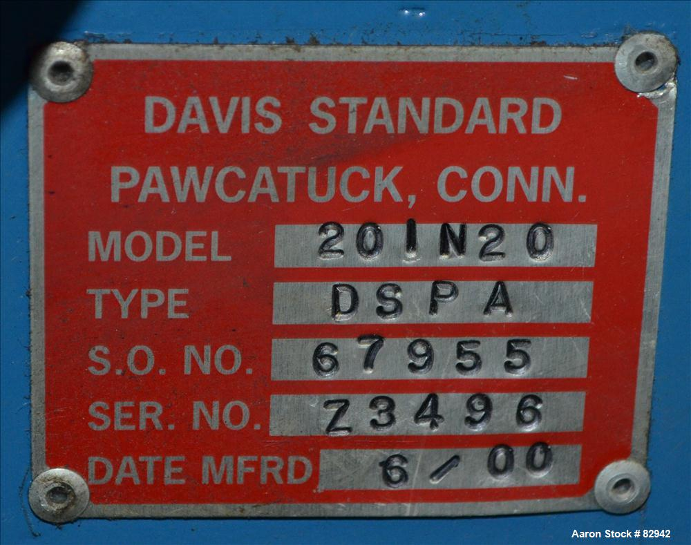 "Used- Davis Standard 2"" Thermatic Single Screw Extruder, Model 20IN20, Type DSPA"