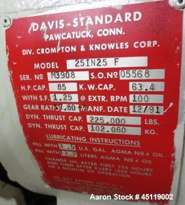 "Used-Davis Standard 2.5"" Single Screw Extruder, Model 25IN25F, Serial #M3908, SO #05568.  Built 1991, 4 zones, electrically ..."